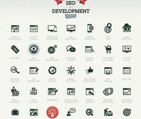 SEO with develpoment icons set