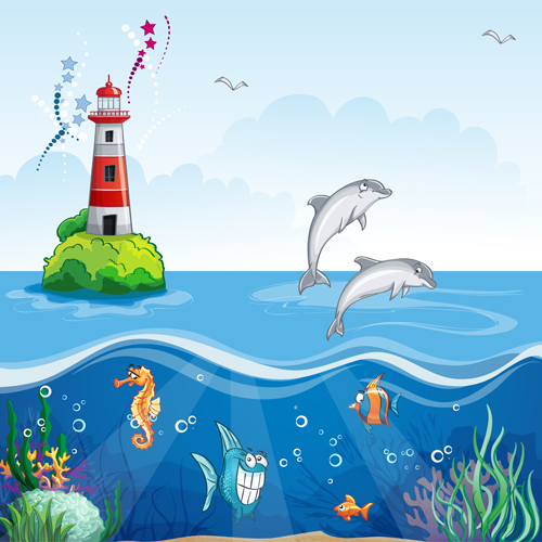 Sea with underwater world cartoon vector 01 - Vector ...