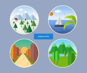 Seasons icon round psd graphic