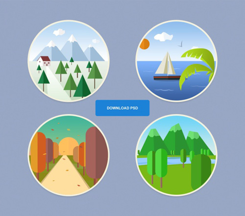 Seasons icon round psd graphic