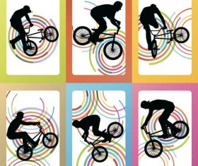 Set of extreme bikers vector silhouettes 02