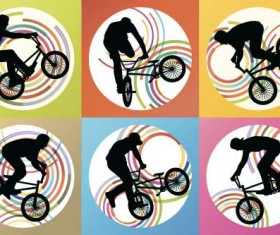 Set of extreme bikers vector silhouettes 03