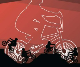 Set of extreme bikers vector silhouettes 04