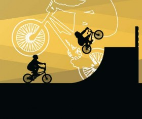 Set of extreme bikers vector silhouettes 05
