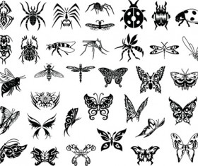 Silhouettes insects vector design