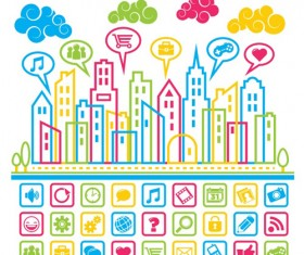 Social media Icons with city building vector