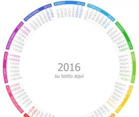 Spanish 2016 grid calendar vector material 01