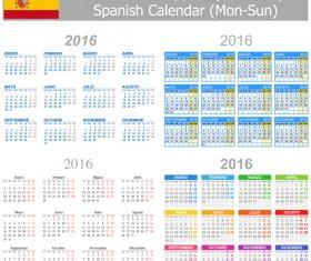 Spanish 2016 grid calendar vector material 02