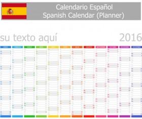 Spanish 2016 grid calendar vector material 04