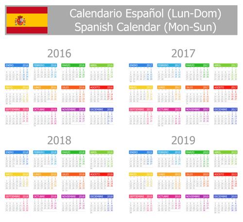 Spanish 2016 grid calendar vector material 06
