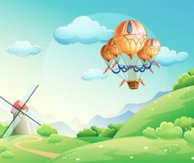 Summer fields with balloon cartoon vector