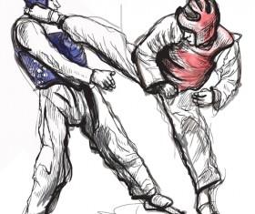 Taekwondo watercolor hand drawing vector 02