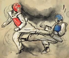 Taekwondo watercolor hand drawing vector 03
