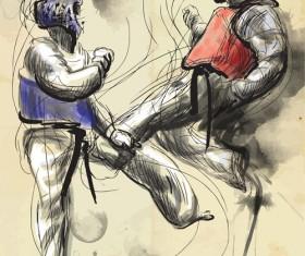 Taekwondo watercolor hand drawing vector 05