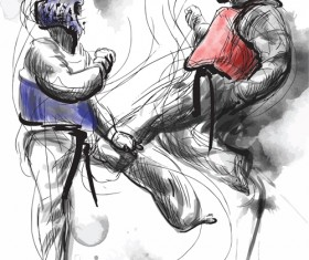 Taekwondo watercolor hand drawing vector 06