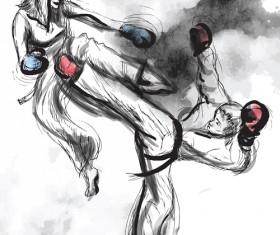 Taekwondo watercolor hand drawing vector 07