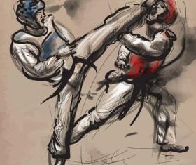 Taekwondo watercolor hand drawing vector 08