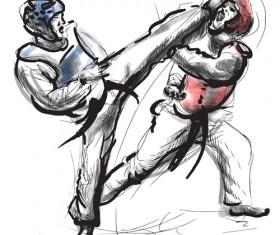 Taekwondo watercolor hand drawing vector 09