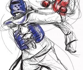 Taekwondo watercolor hand drawing vector 10