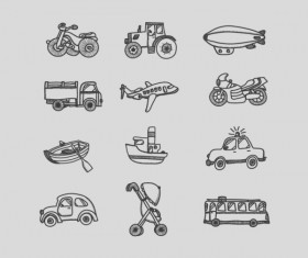 Transportation hand drawing icons set