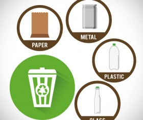 Trash can with eco icons vector 01