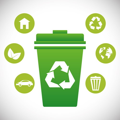 Trash can with eco icons vector 02