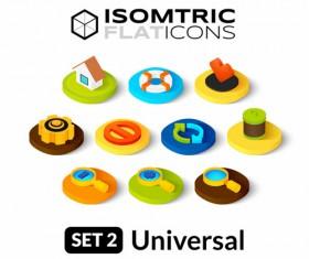 Universal Isometric Flat Icons vector set 01