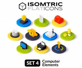 Universal Isometric Flat Icons vector set 02