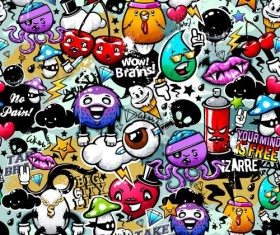 Wall graffiti patter seamless vector 05