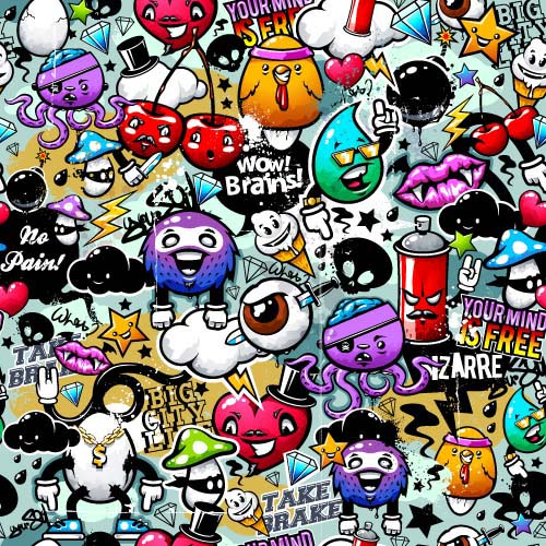Wall graffiti patter seamless vector 05