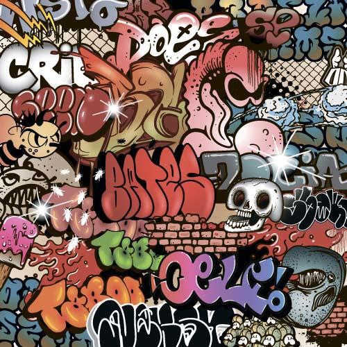 Wall graffiti patter seamless vector 06