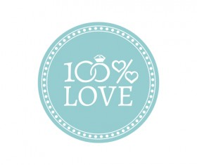 Wedding badge retro design vector 01