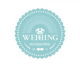 Wedding badge retro design vector 02