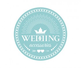 Wedding badge retro design vector 03