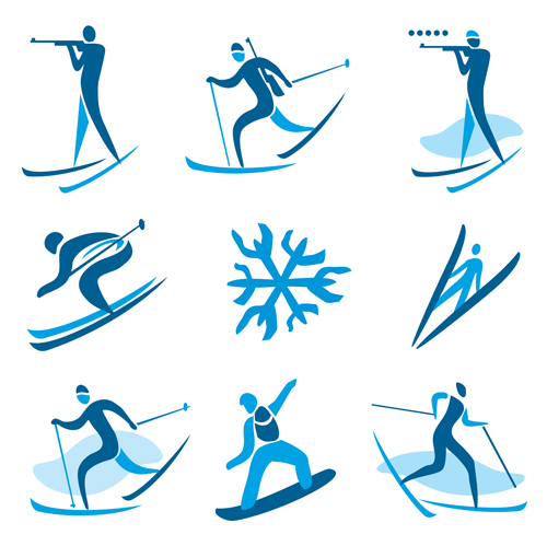 Winter skiers vector icons