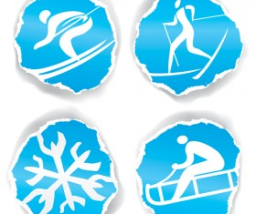 Winter sport icons with torn paper vector