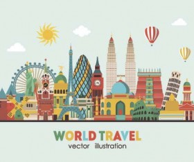 World travel design elements vector illustration 08