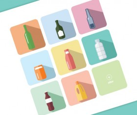 flat bottle icons vector material