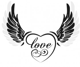 love wings with heart vector material 01