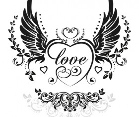 love wings with heart vector material 02