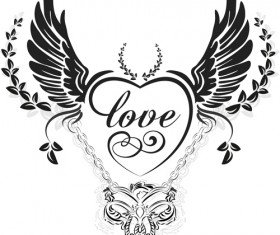 love wings with heart vector material 03