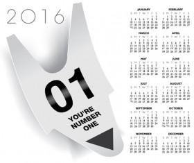 2016 Calendar with number ticket vector