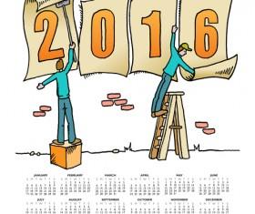 2016 Calendars cute cartoon vector material