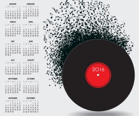 2016 Calendars with music vector design 02