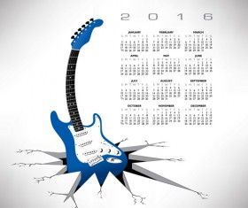 2016 Calendars with music vector design 03