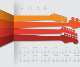 2016 Calendars with music vector design 04