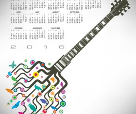 2016 Calendars with music vector design 05