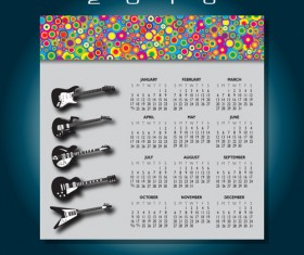 2016 Calendars with music vector design 06