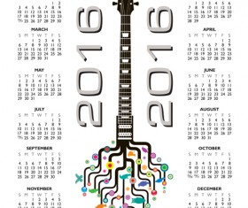 2016 Calendars with music vector design 07