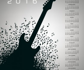 2016 Calendars with music vector design 08